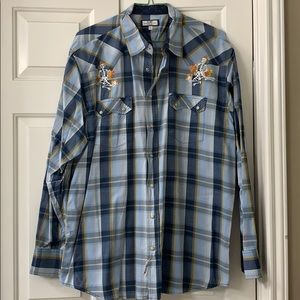 Old Navy pearl snap button up w/custom embroidery